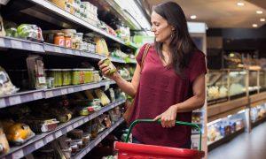 Choosing groceries in a supermarket