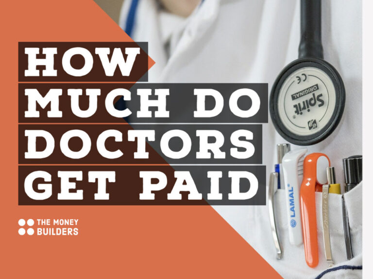 How Much Do Doctors Get Paid text with image of doctors top pocket with instruments
