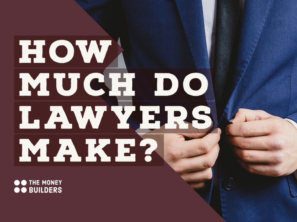 How Much Do Lawyers Make text with backdrop image of man buttoning up suit jacket