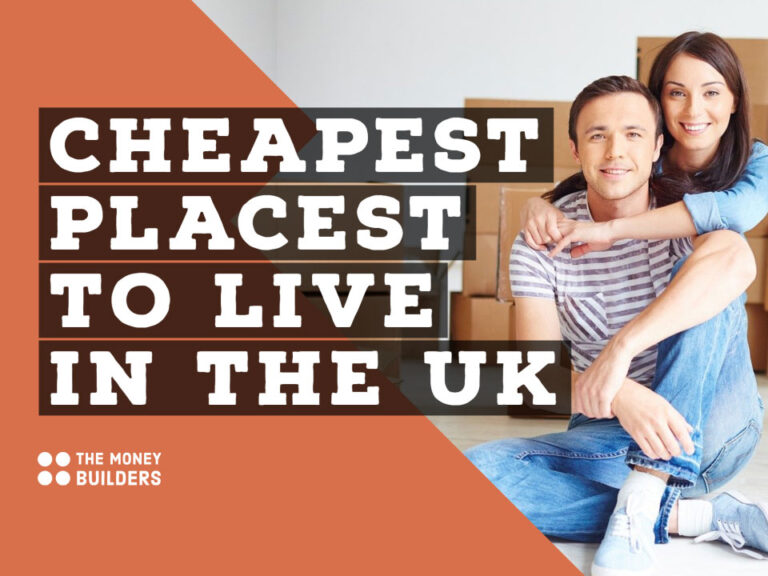 Cheapest Places To Live in the UK text with young couple in new home with unpacked boxes in background.