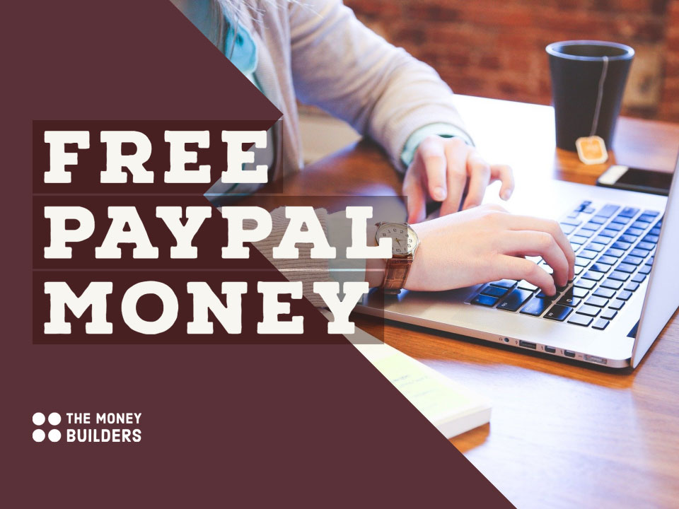 Free PayPal Money text with person using laptop in background