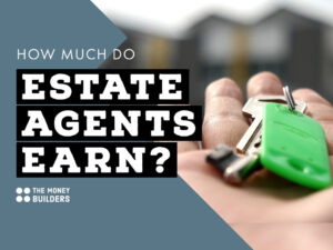How Much Do Estate Agents Earn? text with background image of hand with house keys.
